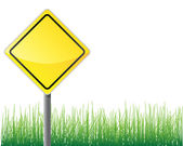 Empty traffic sign yellow color grass below. — Vector de stock