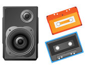 Musical speaker and audiocassette vector illustration. — Stockvektor