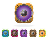 Multi-colored speakers vector illustration a set. — Stock Vector