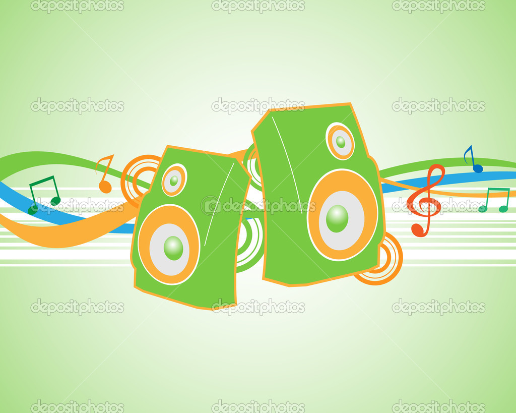 Vector illustration musical theme with speakers. — Stock Vector #4951864