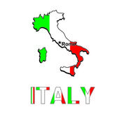 Italy map in the form of the Italian flag. Vector illustration — Stock Vector