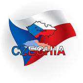 Czechia maps in the form of the Czech flag. Vector illustration — Vettoriale Stock