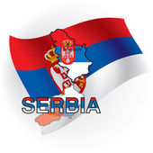Cards of Serbia in the form of the Serbian flag. Vector illustra — Stock Vector