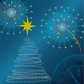 Neujahr-baum, salute und stunden. vektor-illustration — Stockvektor