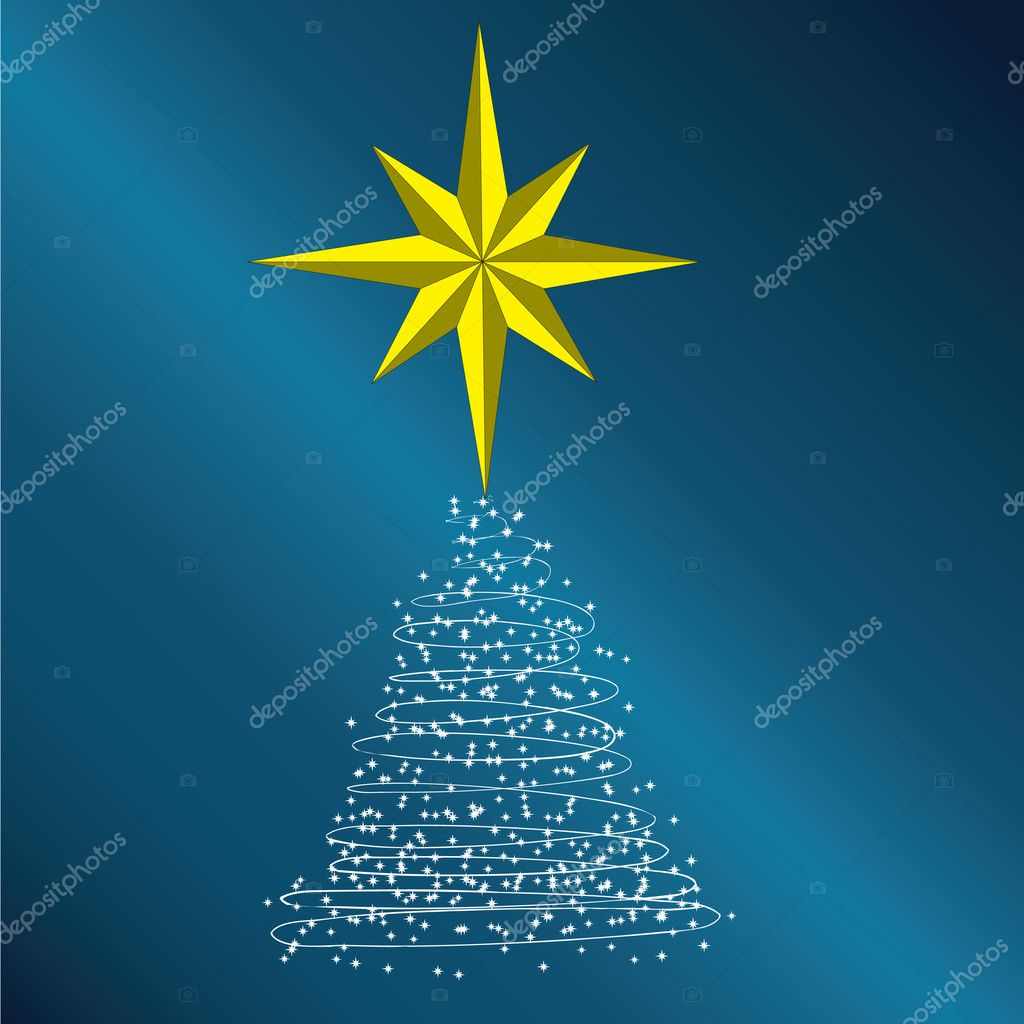 New Year tree consisting of stars on a dark blue background.Vector — Stock Vector #4284413
