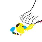 Human foot and its print.Vector illustration — Stock Vector