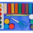 Creative set of aquarelle paint box, plasticine and scissors - Stock Photo