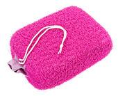 粉红椭圆形浴缸海绵上白色隔离 — 图库照片