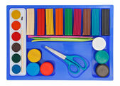 Creative set of aquarelle paint box, plasticine and scissors — Stock Photo