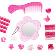 Childish pink hairstyle accessories collection isolated on white - Stock Photo