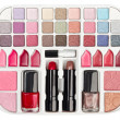 Make-up collection with lipstick and blush palette isolated on w — Stock Photo