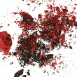 Stock Photo: Red and black color crumbled eye shadows isolated on white