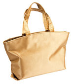 White gold glamorous hand bag isolated on white — Stock Photo
