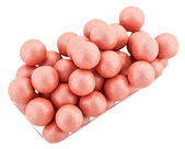 Pink cosmetics rouge balls isolated on white, macro — Stock Photo