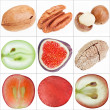 Stock Photo: Collage of isolated fruits (nuts, grape, fig), fine macro shots