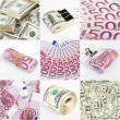 Stock Photo: Collage from dollar and euro money backgrounds