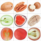 Collage of isolated fruits (nuts, grape, fig), fine macro shots — Stock Photo