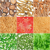 Collection of fruit and vegetable food backgrounds — Stock Photo