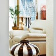 Part of modern art deco style drawing-room interior with striped - Stock Photo