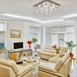 Modern art deco style drawing-room interior with beige leather f - Stock Photo