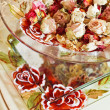 Still life with dried rose flowers in glass bowl on a tray — Stock Photo #4625754