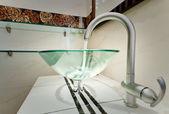 Glass sink bowl in modern minimalism bathroom interior — Stock Photo
