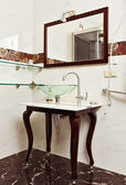 Modern bathroom interior with Glass sink bowl and mirror — Stock Photo