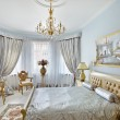 Classic style luxury bedroom interior in blue and silver colors — Stok fotoğraf