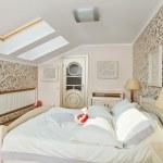 Modern art deco style bedroom interior in light beige colors on — Stock Photo