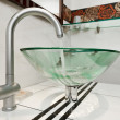 Glass sink bowl in modern minimalism bathroom interior — Stock Photo