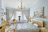 Classic style luxury bedroom interior in blue and silver colors — Stock Photo