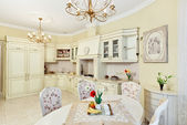Classic style kitchen and dining room interior in beige pastoral — Stockfoto
