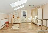 Modern art deco style loft room interior in light beige colors — Stock Photo