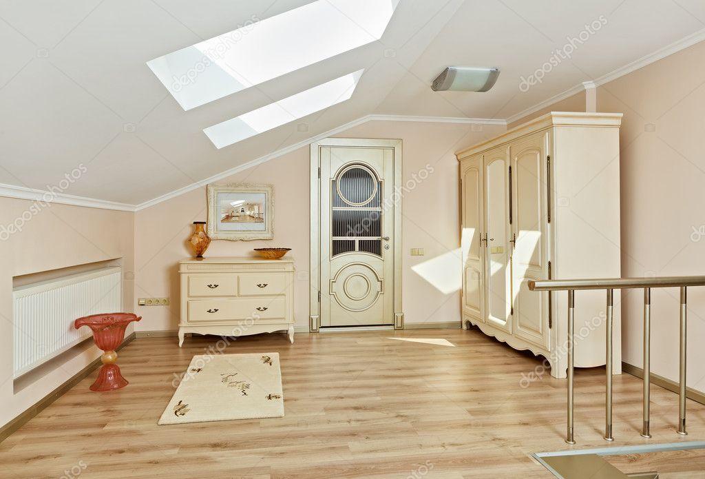 modern art deco style loft room interior in light beige. Black Bedroom Furniture Sets. Home Design Ideas
