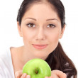 Young attractive womwith green apple — Stock Photo #4746481