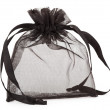 Small black gauze present bag isolated on white - Foto de Stock