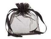 Small black gauze present bag isolated on white — Stock Photo