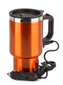 Orange electric thermos mug for auto 12 volt lighter — Stock Photo