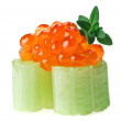 Stock Photo: Red salmon caviar canape with celery and thyme twig