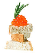 Red caviar sandwich with rosemary twig — Stock Photo