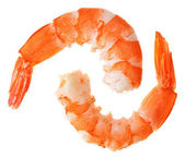 Two cooked unshelled tiger shrimps — Foto Stock