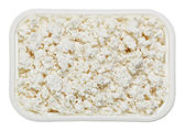 Cottage cheese (curd) in small square plate — ストック写真