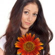 Young beautiful lady holding sunflower near face portrait — Stock Photo