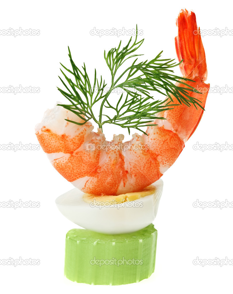 Shrimp canape with quail egg and dill twig stock photo for Quail egg canape