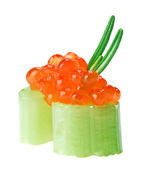 Red salmon caviar canape with celery and rosemary twig — Stock Photo