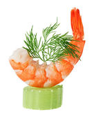 Shrimp canape with celery and dill twig — Stock Photo