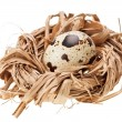 One quail eggs in the straw nest - ストック写真