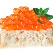 Red caviar sandwich with thyme twig — Stock Photo