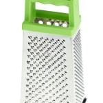 マルチ目的ステンレス鋼おろし金とグリーン プラスチック処理します。 — ストック写真 #5186031