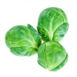 Three brussels sprouts heads isolated on white, food background — Stock Photo